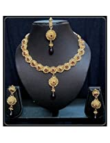 Diva Kundan Red Green Indian Bollywood Gold Tone Necklace Earrings Tika Set For Women