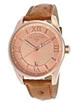 Swiss Legend Watches, Men's Bellezza Rose Gold Tone Textured Dial Brown Genuine Ostrich, Model 22012-RG-09-RA-OS03M