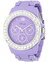 "Breda Women's 5169_Purple ""Sawyer"" Rhinestone Bezel Metal Band Watch"