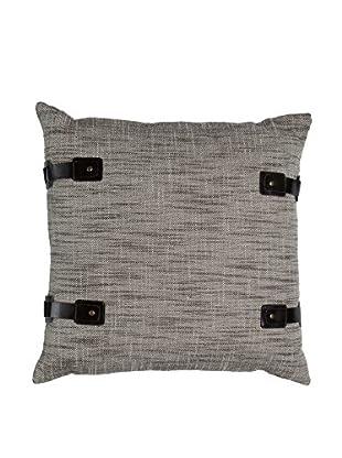 Cloud 9 Buckles & Tweed Throw Pillow, Grey
