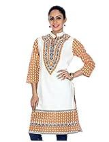Rajrang Women's Printed Long Kurti (TOP05019_Off-White_Large)