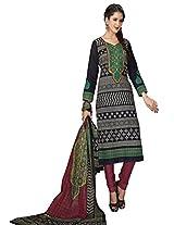 Salwar Studio Black & Maroon Cotton Dress Material With Dupatta Priyanshi-5111
