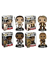Funko Pop! Star Wars: Episode Vii Rey & Finn W/ Han Solo & Chewbacca Vinyl Bobble Heads New
