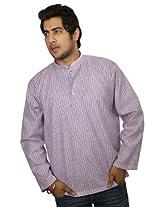 Shalinindia Men's Cotton Kurta -Red -Medium
