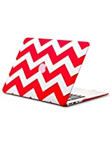 "Kuzy Chevron Rubberized Hard Case for MacBook Air 13.3"" (A1466 & A1369) - [Red]"