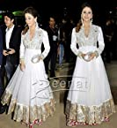 Urmila Matodkar Net Zari Work White Bollywood Style Anarkali Suit