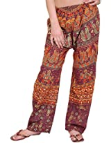 Exotic India Casual Trousers from Jodhpur with Printed Marriage Procession - Color Tawny PortGarment Size Free Size