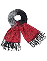 Dahlia Women's Scarf Shawl - Gradient Color Motif - Red