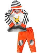 Infant Girls Tee with Track and Cap Vellore Set, Multi Colour (0-3 Months)