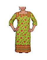 VGF 3/4 Sleeve Printed Cotton Kurti For Women-Large