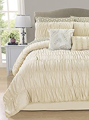 Luxury Home Greyson 10-Piece Ruched Comforter Set