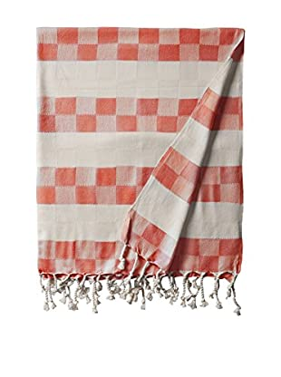 Nomadic Thread Handwoven Towel Cube, Natural/Red