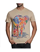 T - Shirt - Mens Tshirt - Hand Painted Rainbow Elephant Theme - Beige Color