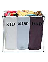 Outmad Laundry collector Trio Black,Grey,White - 3 laundry compartments, capacity 34.34 gal, Polyester, 24.8 x 22.4 x 15 inch, Black,Grey,White