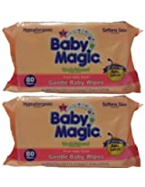 Baby Magic Gentle Baby Wipes Refill or Travel Pack with 80 wipes (Pack of 2 - Total 160 Wipes)