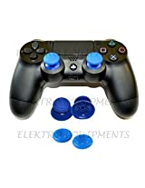 PS4 Controller Replacement Plastic 3D Joystick Cap with Anti-slip Silicone Cover - Blue (1 Pair each)