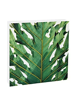Art Block Green Leaf - Fine Art Photography On Lacquered Wood Blocks