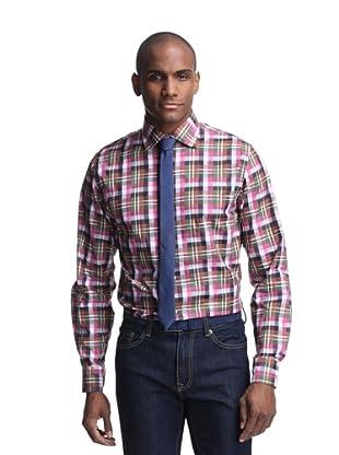 Hickey Freeman Men's Spread Collar Shirt (Raspberry)