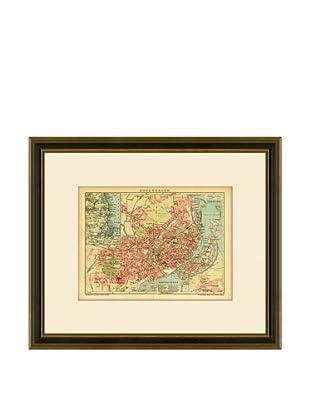 Antique Lithographic Map of Copenhagen, 1894-1904