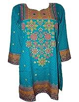 Odishabazaar Women's American Crepe Kurti Short Kurta Blouse Floral Print in Blue M
