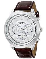Geneva Men's 8182A-GEN Watch with Brown Croco-Embossed Band
