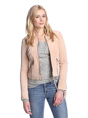Sam Edelman Women's Luella Fringe Suede Jacket (Peach Melba)