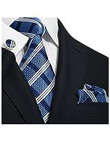 "Landisun 31N Grid Checks Plaids Mens Silk Tie Set:Tie+Hanky+Cufflink Blue White, 3.25""Wx59""L"