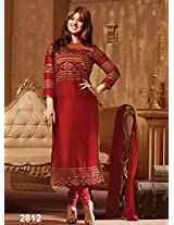 Rozdeal Womens Cotton Anarkali Unstitched Dress Material (Rda139-2812 _Maroon)