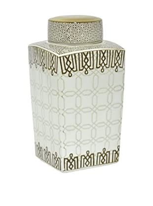 Three Hands Medium Greek Key Ceramic Jar with Lid
