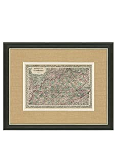 """Mitchell-Antique Map of Kentucky & Tennessee, 1860's-1870's, 21"""" x 23"""""""