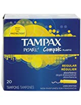 Tampax Pearl Compak Plastic, Regular Absorbency, Unscented Tampons, 20 Count (Pack of 4)
