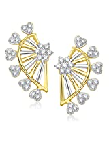 VK Jewels Hearts Gold and Rhodium Plated Alloy Stud Earrings for Women & Girls -ER1340G [VKER1340G]