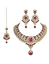 I Jewels K7024M Gold Plated Kundan Necklace Set With Maang Tikka