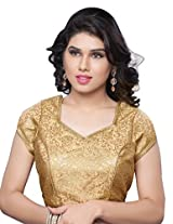 Khoobee Presenting Festive Special Jacquard Worked Stitched Art Silk Blouse.(Golden,Chikoo)