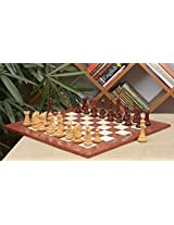 Chessbazaar Combo Of Staunton Series Chess Pieces In Bud Rose / Box Wood & Red Ash Burl Maple Hi Gloss Finish Board