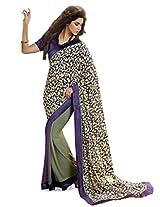 Inddus Women Purple & Green Georgette Printed saree