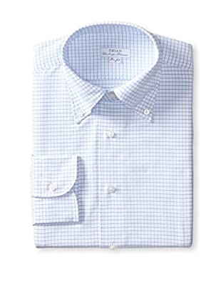 Orian Men's Slim Fit Washed Button Down Graph Check Oxford Dress Shirt (White)