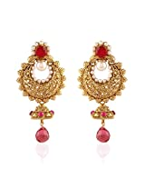 I Jewels Traditional Gold Plated Chand Jhumki Shaped Pearl Earrings for Women EM2247Q (Rani/Pink)