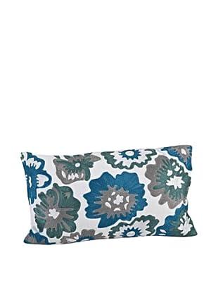 Saro Lifestyle Blue Peony Pillow