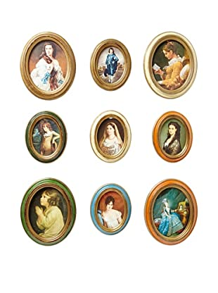 Set of 9 Vintage Italian Picture Frames, Multi