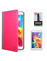 VanGoddy Mary Portfolio Multi Purpose Book Style Slim Flip Cover Case for Samsung Galaxy Tab4 T330/T331 8.0 (Pink) + 2600 mAh PowerBank + Matte Screen