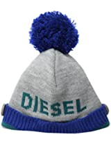 Diesel Baby Boys' Faquab Boys' Ribbed Knit Hat with Button Logo and Puff, Melange, 02 Months