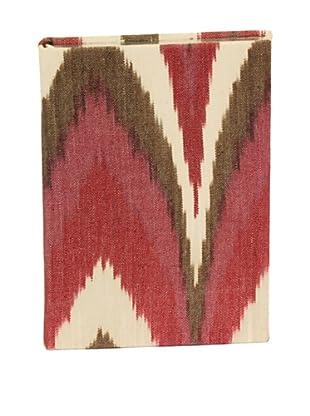 Aviva Stanoff Gilt-Edged Ikat Keepsake Wide-Ruled Journal, Burgundy