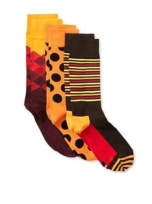 Happy Socks Women's Multi Socks (3 Pairs) (Red/Orange/Brown)