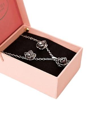 Cortefiel Set Collar Pendiente Flor (Metal)