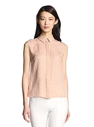 Jason Wu Women's Spotted Silk Jacquard Fly Back Top (Clay)