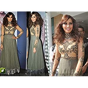 Bipasha Basu Anarkali Gown, Grey & Green