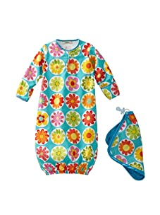 My Blankee Baby Woven Sleeper and Blankie Set (Turquoise Daisy)