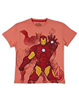 Bio world Boys' Round Neck Marvel comics Tween Cotton Half Sleeve T-Shirt Coral [8903346242757] -(11-12 years )