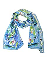 Wrapables Luxurious 100% Charmeuse Silk Long Scarf with Hand Rolled Edges, Claude Monet's Water Lilies